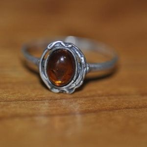 Jewelry - Vintage 1ct Natural Oval Cut Baltic Amber Sterling